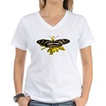 BLack & White Butterfly Women's V-Neck T-Shirt