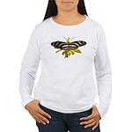 BLack & White Butterfly Women's Long Sleeve T-Shir