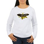 BLack & White Butterfly Women's Long Sleeve T-Shir
