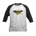BLack & White Butterfly Kids Baseball Jersey
