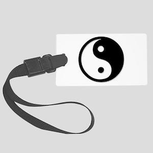 Black Yin Yang Large Luggage Tag