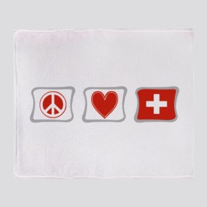 Peace Love and Switzerland Throw Blanket