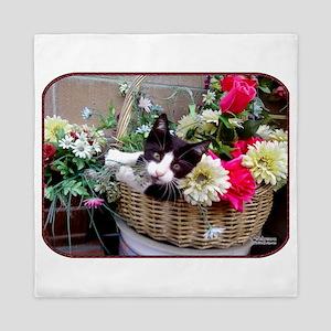 Kitten in a Basket Queen Duvet