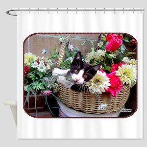 Kitten in a Basket Shower Curtain