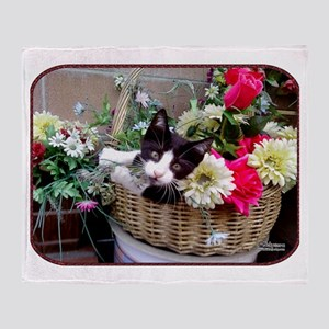 Kitten in a Basket Throw Blanket