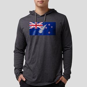 New Zealand Silver Fern Flag Mens Hooded Shirt