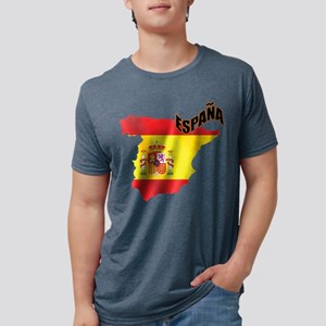 Flag Map of Spain Mens Tri-blend T-Shirt