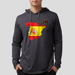 Flag Map of Spain Mens Hooded Shirt