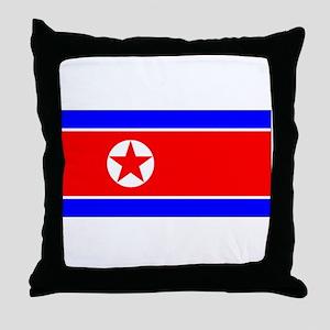 North Korean Blank Flag Throw Pillow