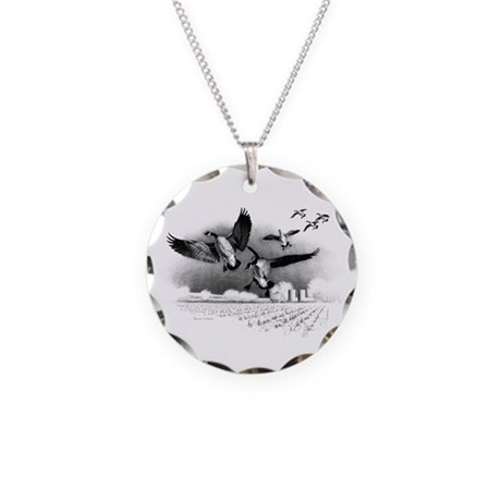 Canadian Geese Necklace Circle Charm