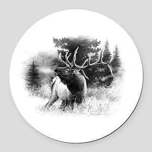 Elk Bugle Round Car Magnet