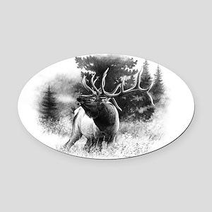 Elk Bugle Oval Car Magnet