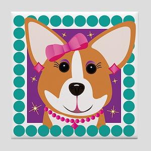 Corgi Diva Dog Art Tile Coaster
