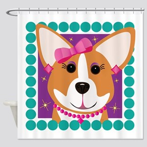 Corgi Diva Dog Art Shower Curtain