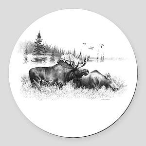 Moose Round Car Magnet