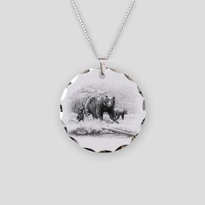 Black Bear Necklace Circle Charm