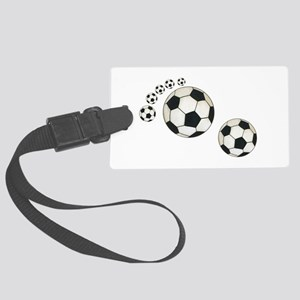 Soccer Ball Footprint Large Luggage Tag