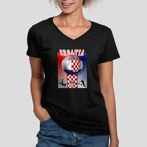 Croatian Football Women's V-Neck Dark T-Shirt