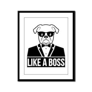 Like Boss Bulldog Framed Panel Print