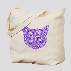 Purple Patterned Cat Face Tote Bag
