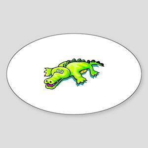 Cute Alligator Sticker (Oval)