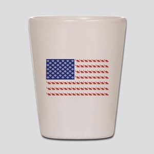 USA Patriotic Cat Flag Shot Glass