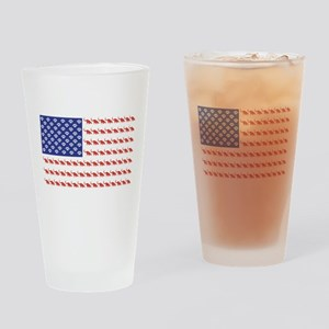 USA Patriotic Cat Flag Drinking Glass