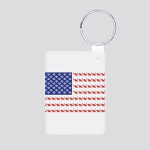 USA Patriotic Cat Flag Aluminum Photo Keychain