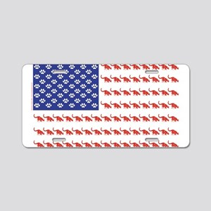 USA Patriotic Cat Flag Aluminum License Plate