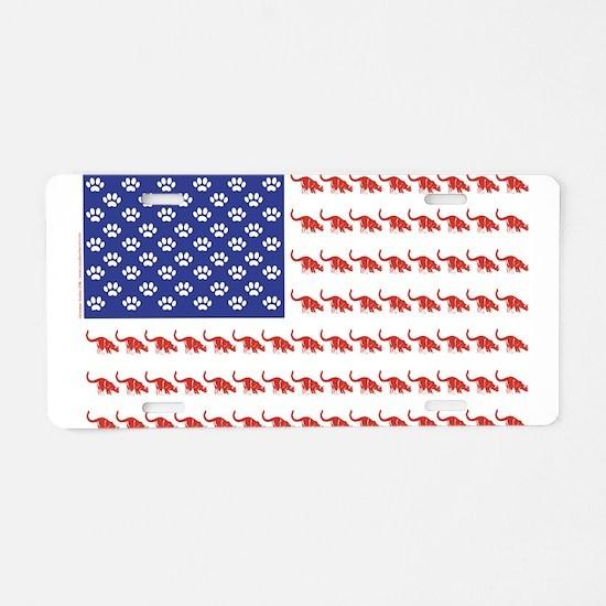 USA Patriotic Cat Flag Aluminum License Plate