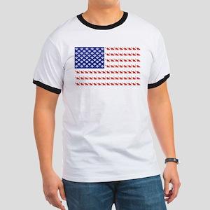 USA Patriotic Cat Flag Ringer T
