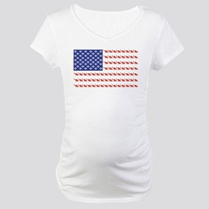 USA Patriotic Cat Flag Maternity T-Shirt