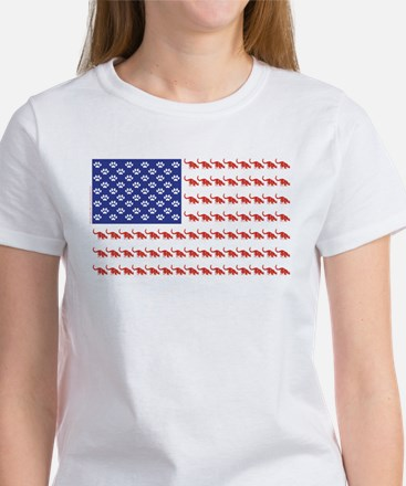 USA Patriotic Cat Flag Women's T-Shirt