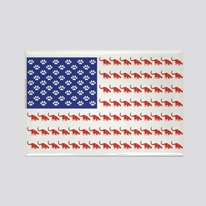 USA Patriotic Cat Flag Rectangle Magnet