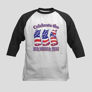 USA/Patriotic Kitty Cats Kids Baseball Jersey