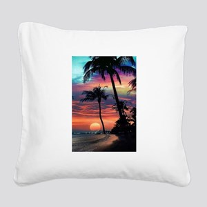 Tropical Sunset Square Canvas Pillow