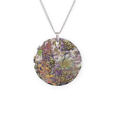 Nature's Floral Arrangement Necklace Circle Charm