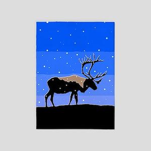 Winter Caribou 5'x7'Area Rug
