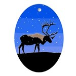 Winter Caribou Oval Ornament
