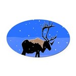 Winter Caribou Oval Car Magnet