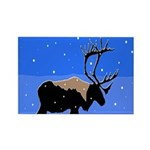 Winter Caribou Rectangle Magnet (100 pack)