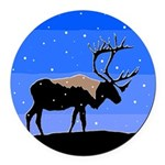 Winter Caribou Round Car Magnet