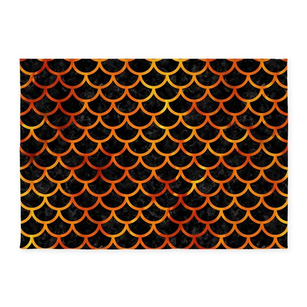 Marble Fireplace Rug: SCALES1 BLACK MARBLE & FIRE 5'x7'Area Rug By TrendiPatterns3