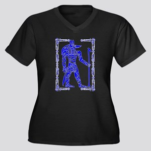 Blue and White Anubis Women's Plus Size V-Neck Dar