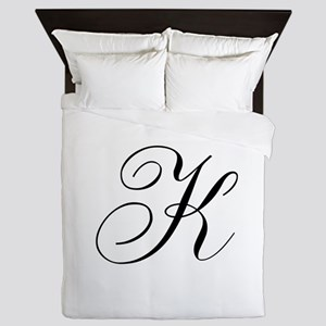 K Initial Black and White Sript Queen Duvet