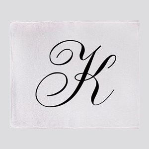 K Initial Black and White Sript Throw Blanket