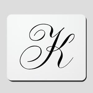 K Initial Black and White Sript Mousepad