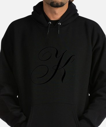 K Initial Black and White Sript Hoodie (dark)