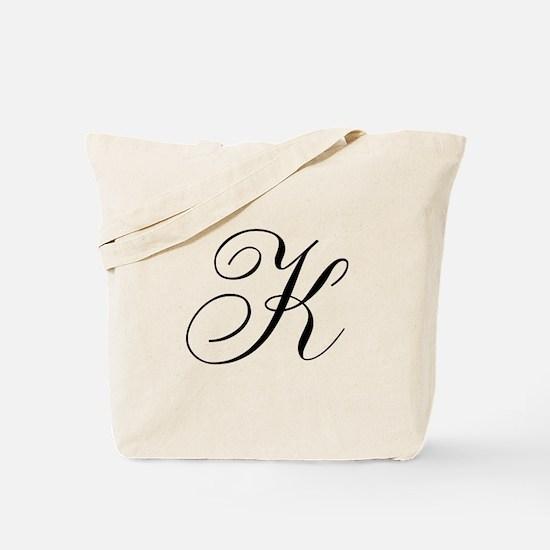 K Initial Black and White Sript Tote Bag