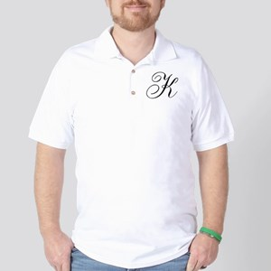 K Initial Black and White Sript Golf Shirt
